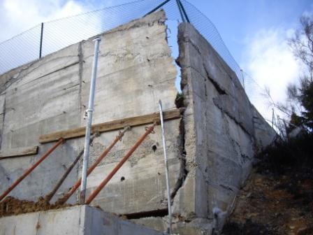 Hundimiento de muros de contención